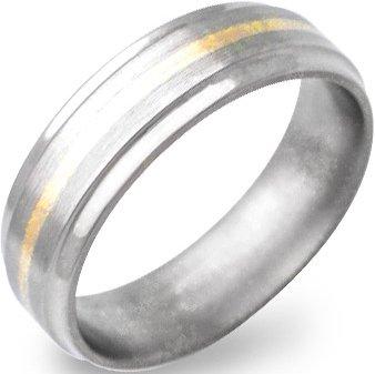 Men's Beveled Titanium Gold Ring