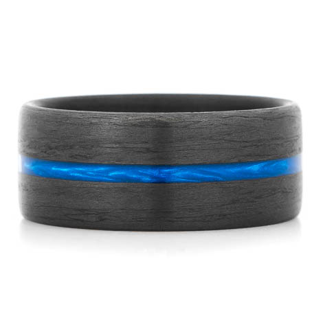 Wide Thin Blue Line Carbon Fiber Ring
