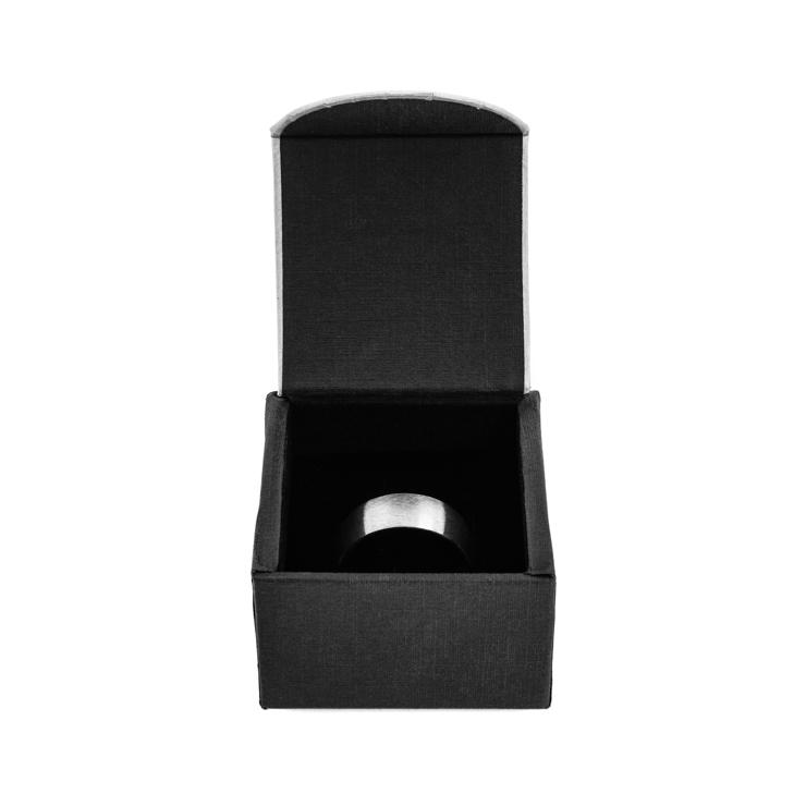 Wide Square Titanium Ring with Stone Finish