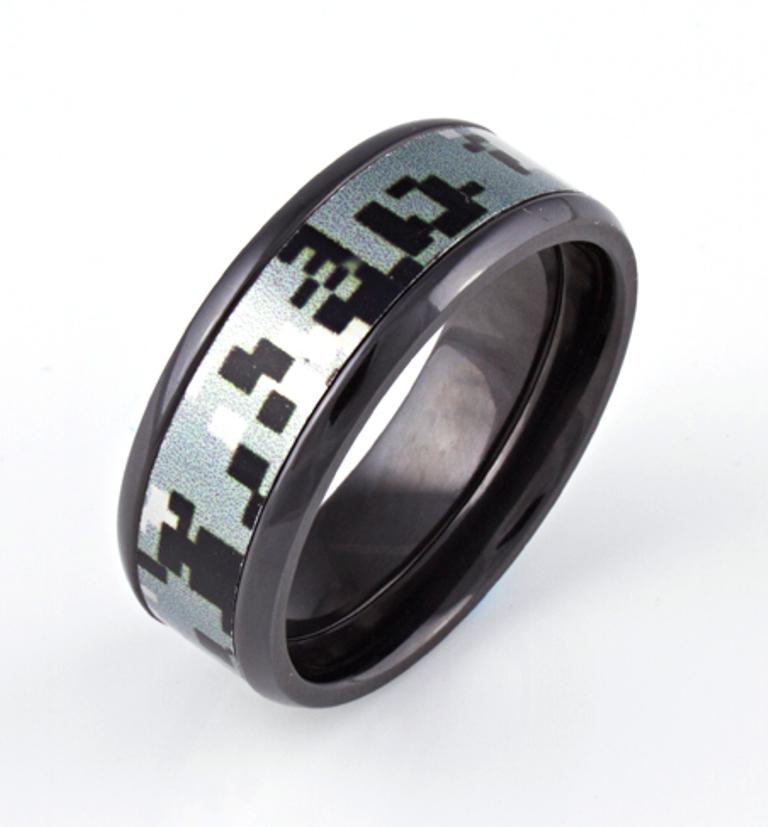 Men's Black Zirconium Urban Digital Camo Ring