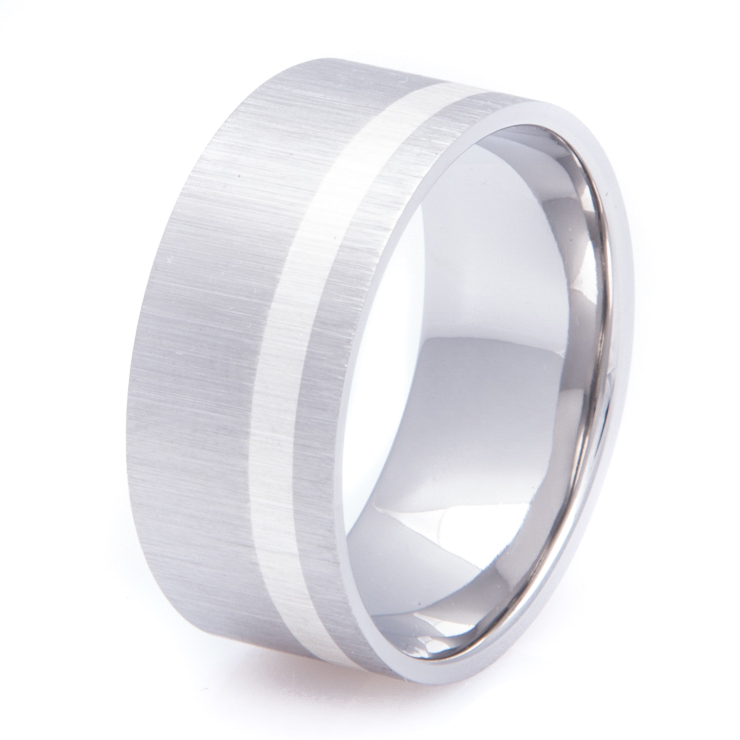 Wide Titanium Ring with Offset Sterling Silver Inlay
