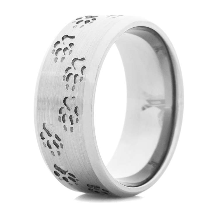 Men's Titanium Wolf Tracks Ring