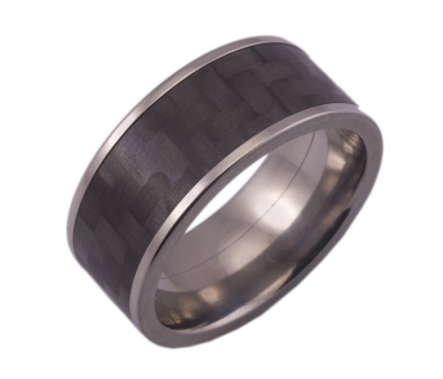 Wide Titanium Ring with Carbon Fiber Inlay