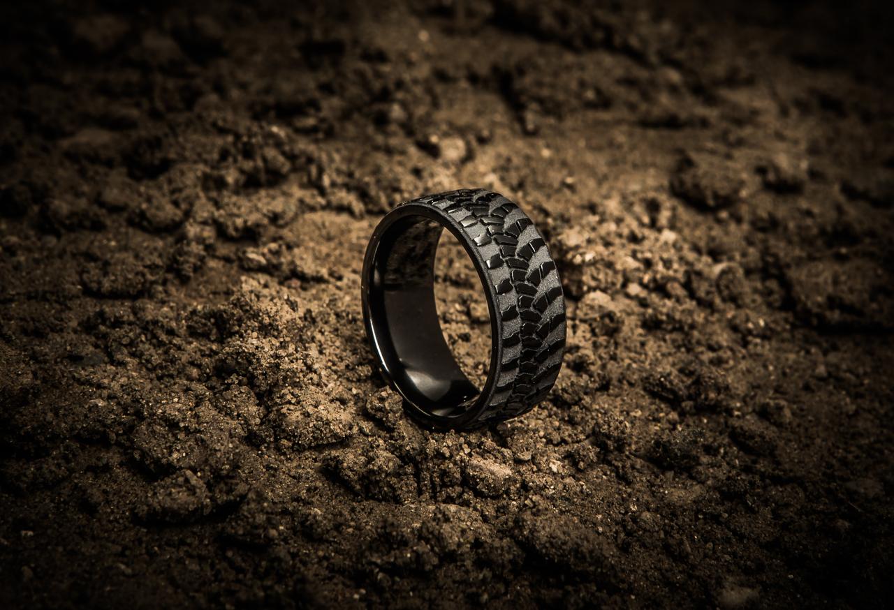 Men's Black Goodyear Wrangler Tire Tread Ring