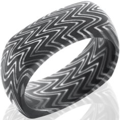 Men's Square Acid Finish Zebra Pattern Damascus Steel Ring