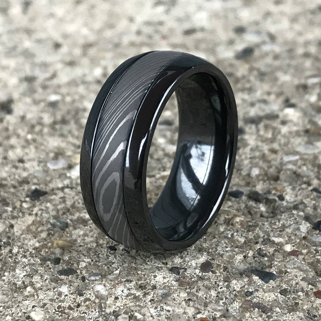 Men's Dome Profile Black Zirconium Ring with Damascus Steel Inlay