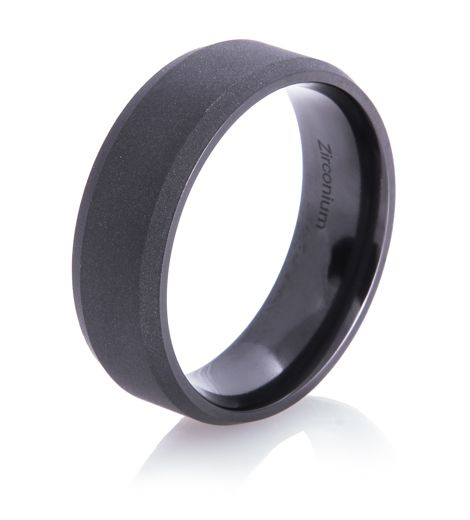 Men's Beveled Flat Black Ring