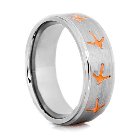 Men's Titanium Turkey Track Ring with Color