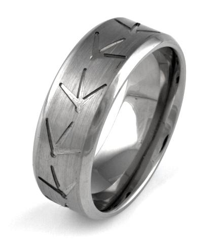 Men's Titanium Turkey Track Ring