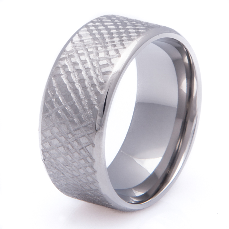 Titanium Cross Weave Wedding Ring