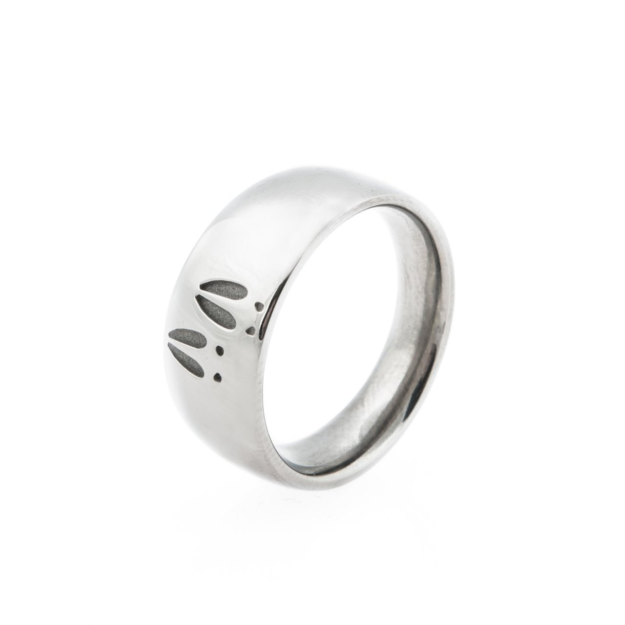 Women's Titanium Two-Print Deer Track Ring