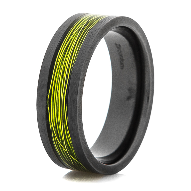 Men's Black Rings with Fishing Wire Inlay Options