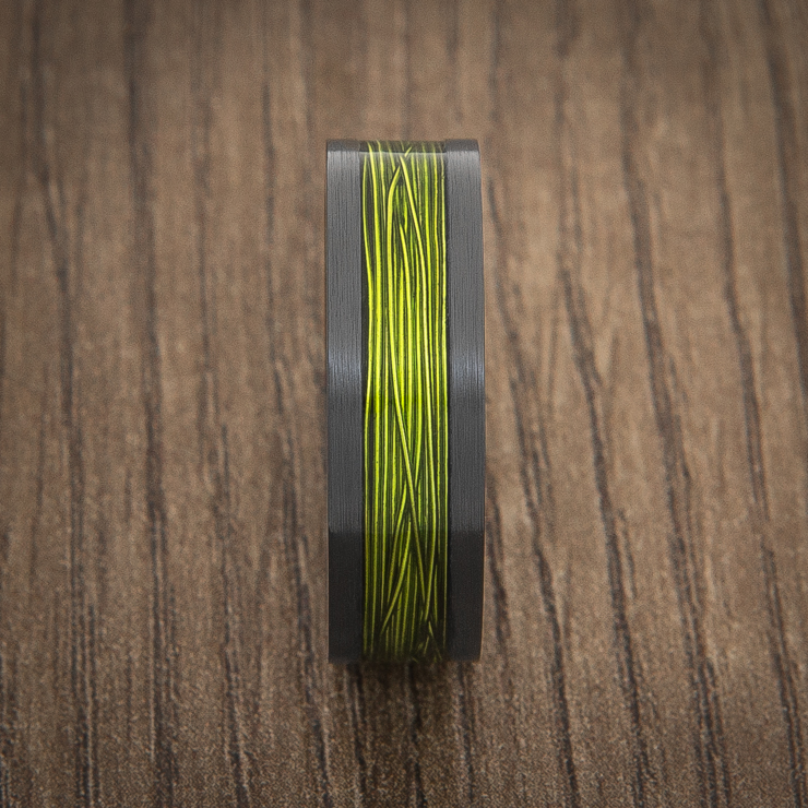 Men's Black Ring with Electric Green Fishing Wire Inlay