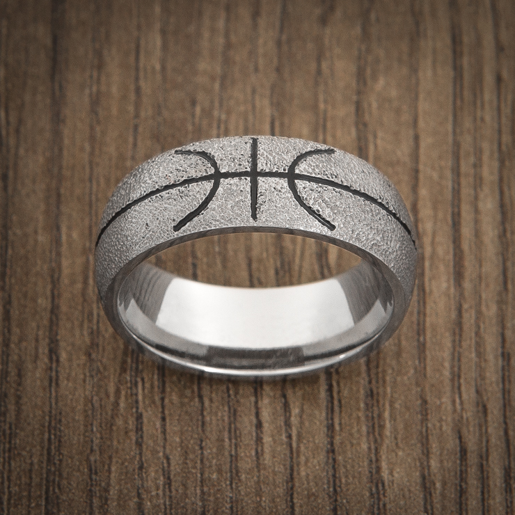 Men's Titanium Basketball Ring with Black Inlay