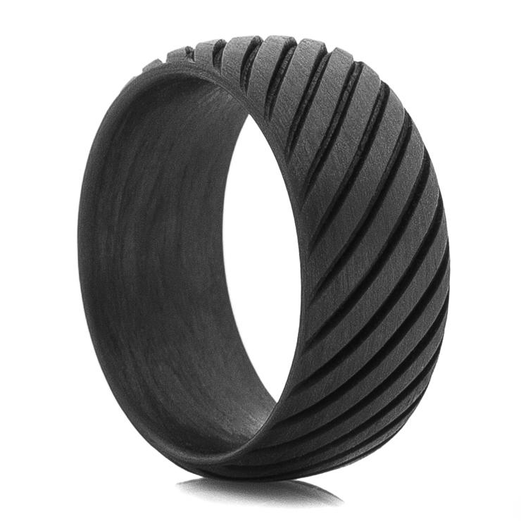 Men's Black Rope Style Carbon Fiber Ring