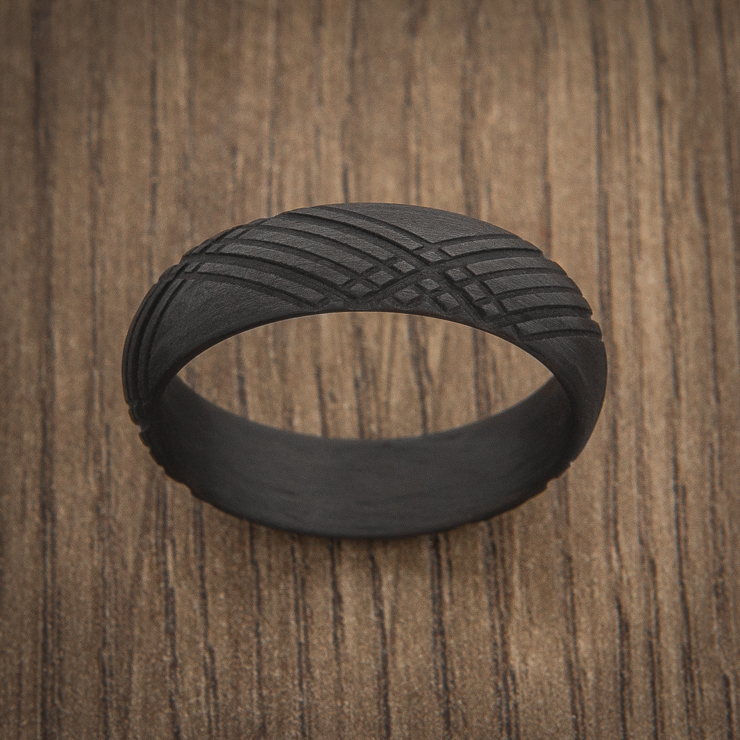 Men's Black Matte Tartan Carbon Fiber Ring