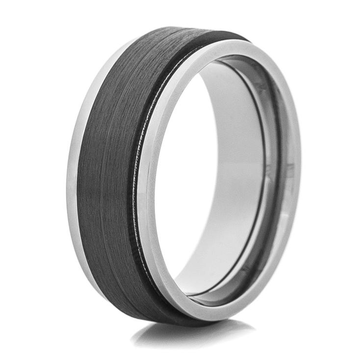 Men's Titanium Ring with Black Zirconium Center and Milled Edges