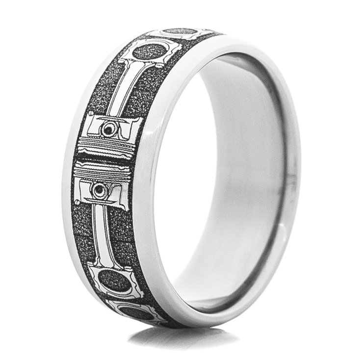 Men's Titanium Piston Wedding Band