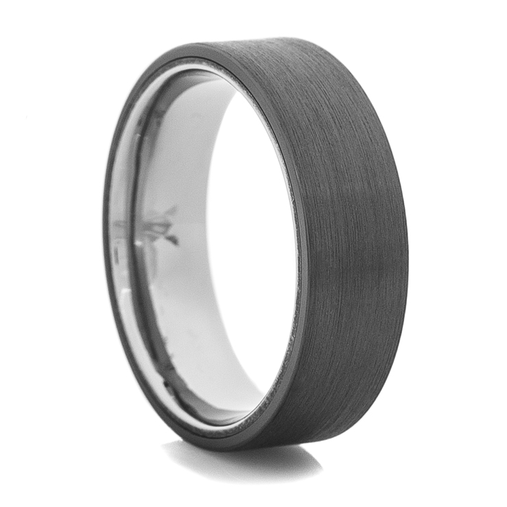 Men's Flat Black Ring with Titanium Inner Sleeve