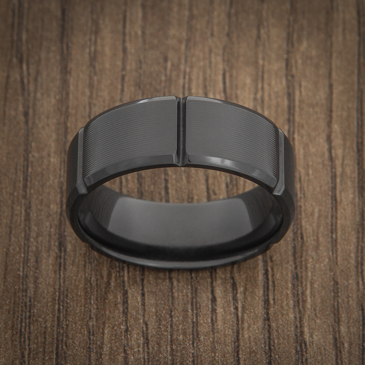 Machine Finish Black Zirconium Men's Ring