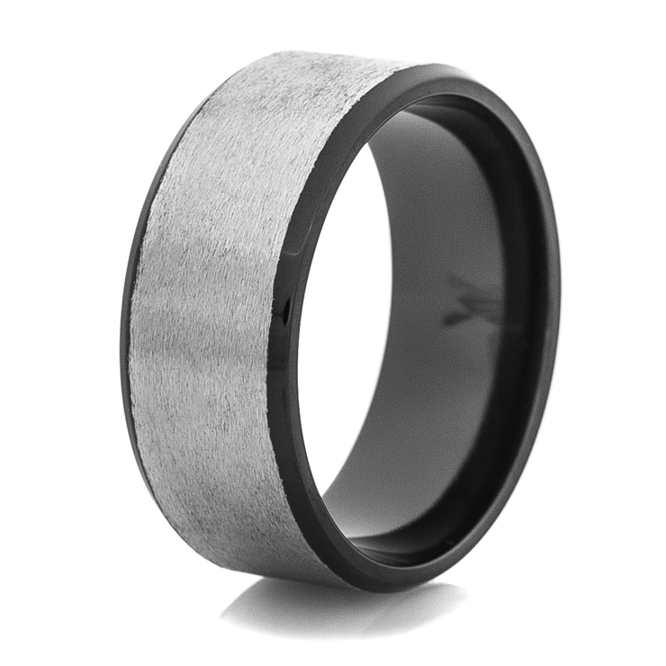 Men's Two-Tone Silver and Black Wedding Ring
