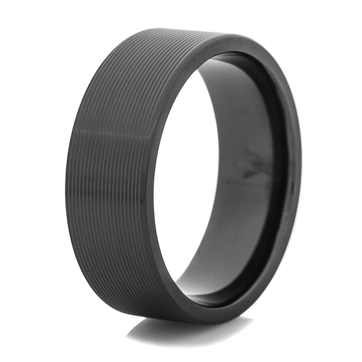 Men's Grooved Black Zirconium Band