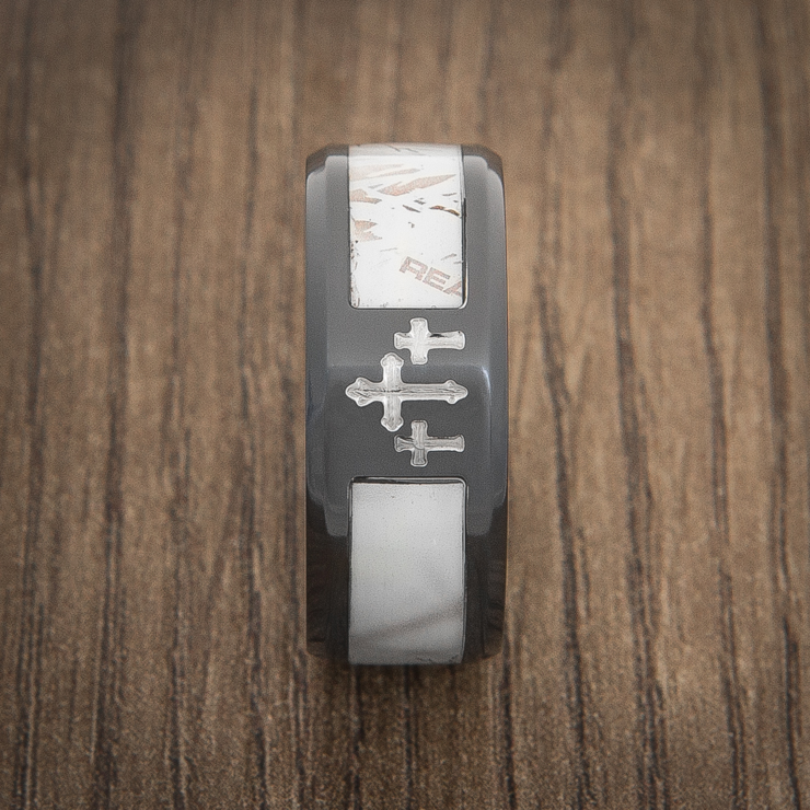 Men's Black Zirconium Camo Cross Realtree® AP Snow Camo Ring