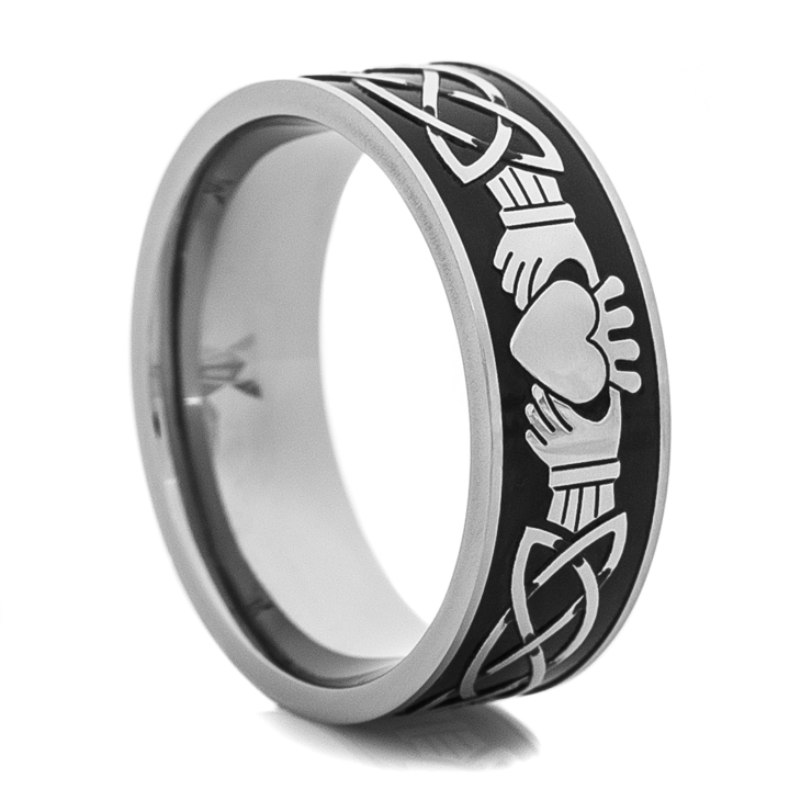 Men's Titanium Black and Silver Claddagh Wedding Ring