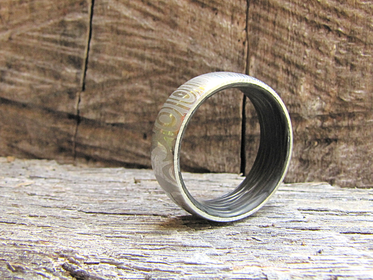 Men's Damascus Steel and Carbon Fiber Eclipse Ring