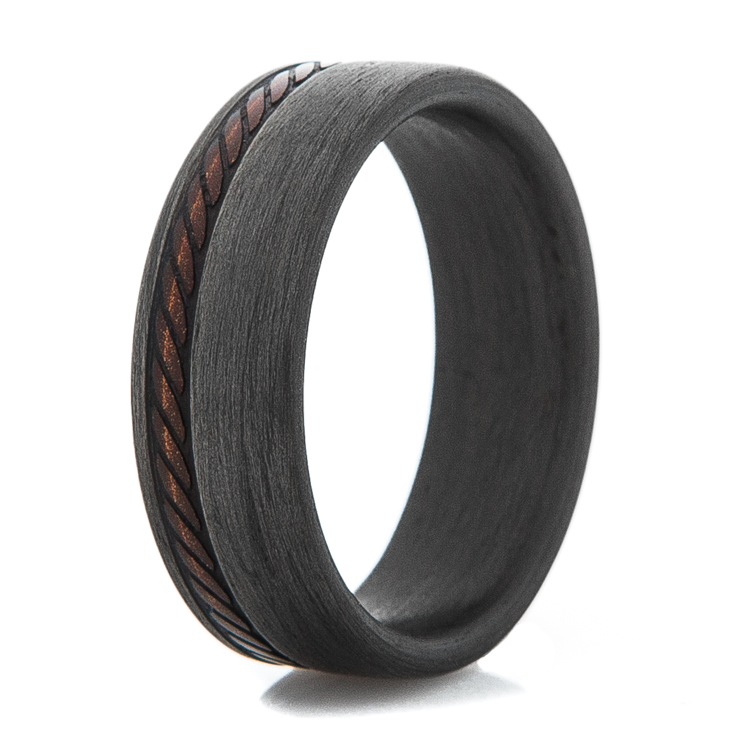 Men's Stitched Pattern Carbon Fiber Ring