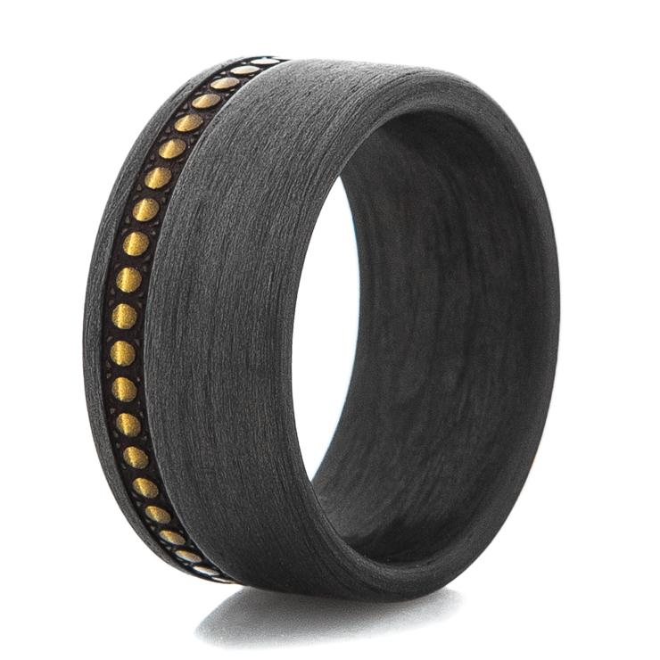 Men's Studded Leather Pattern Wide Carbon Fiber Ring