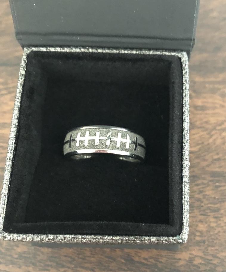 Men's Laser-Carved Titanium 3D Football Laces Wedding Ring