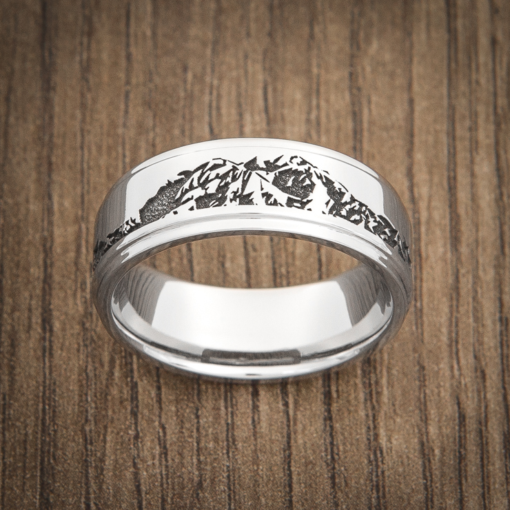 Men's Laser-Carved Titanium Wasatch Mountain Range Ring