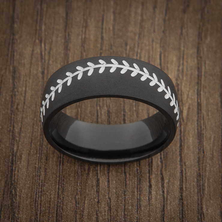 Men's Black Baseball Ring with White Stitching