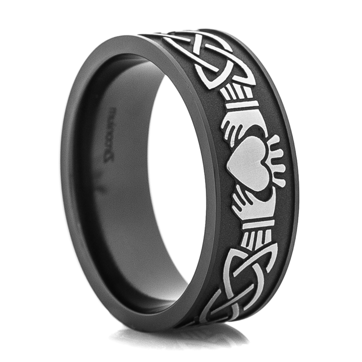 Men's Black & Silver Claddagh Ring