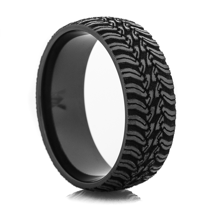 Men's Laser-Carved Black Tread Ring