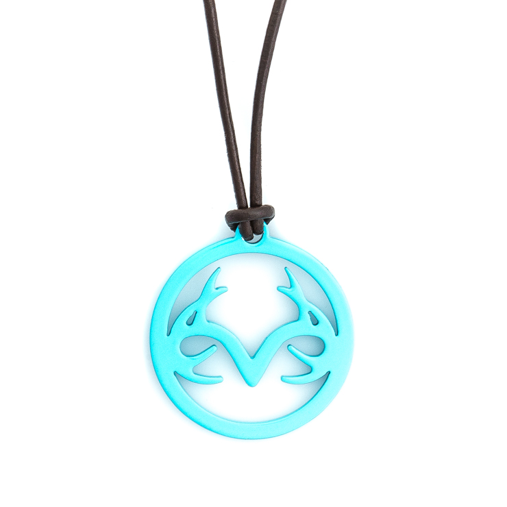 Women's Leather Necklace with Aqua Stainless Steel Realtree Logo