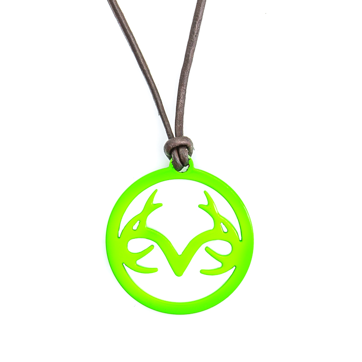 Women's Leather Necklace with Green Stainless Steel Realtree Logo