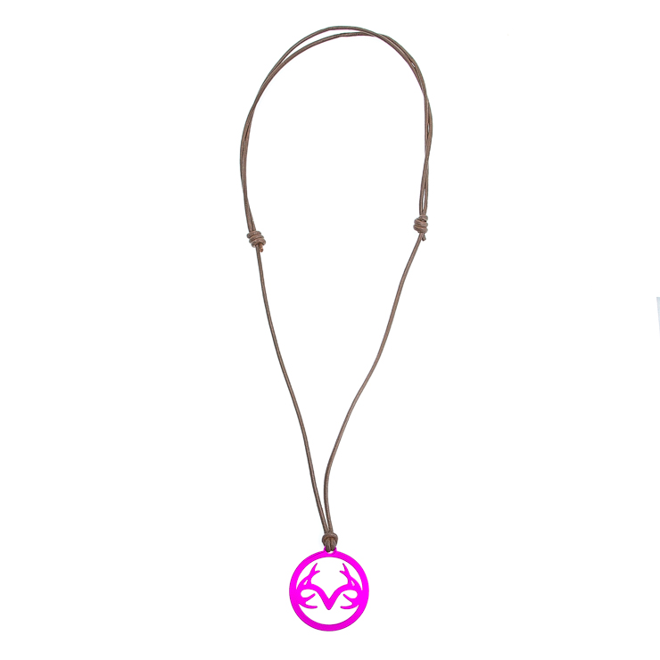 Women's Leather Necklace with Magenta Stainless Steel Realtree Logo