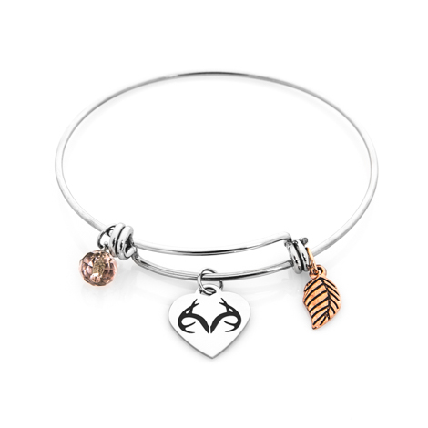 Women's Stainless Steel Realtree Charm Bracelet