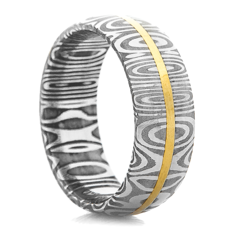 Men's Dome Profile Damascus Steel Ring with 14K Yellow Gold Inlay