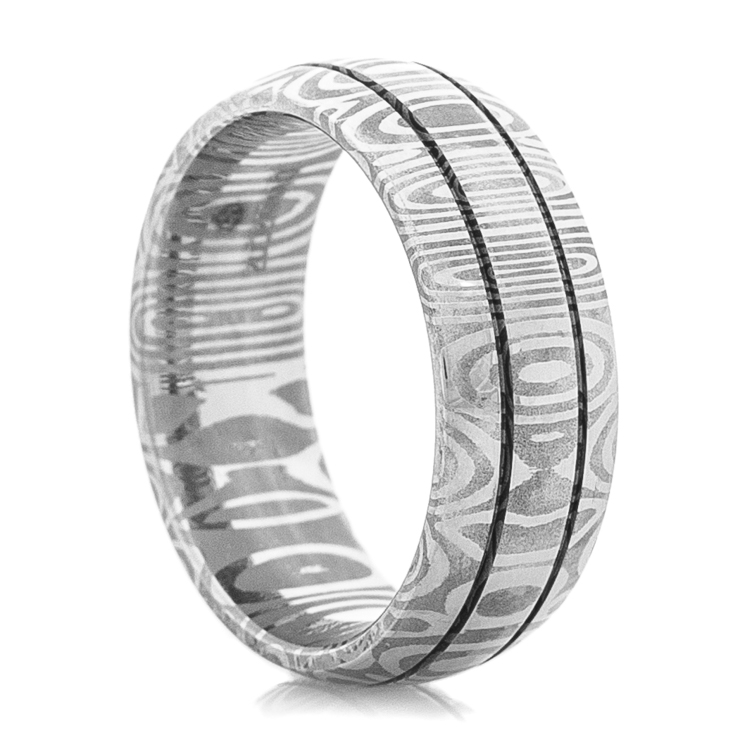 Men's Damascus Steel Ring with Dual Grooves