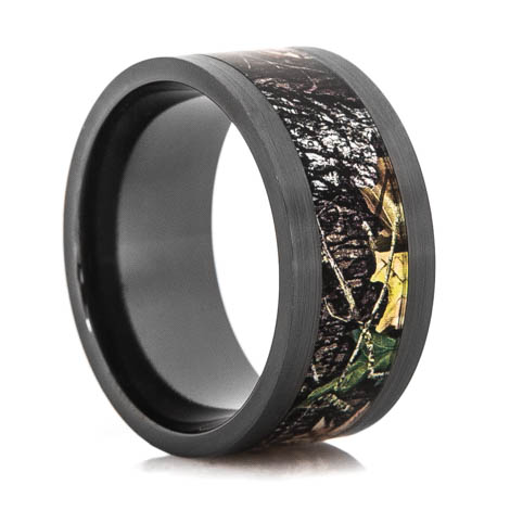 Men's Black Zirconium Mossy Oak Breakup Camo Ring