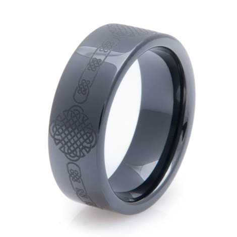 Laser Engraved Black Celtic Ring