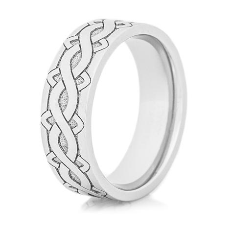 Cobalt Laser Carved Celtic Weave Ring