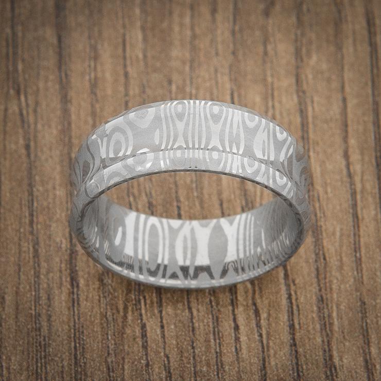 Men's Concave Damascus Steel Wedding Ring