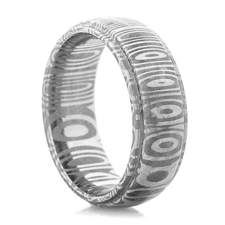 Men's Grooved Edge Cross-Pattern Damascus Steel Ring