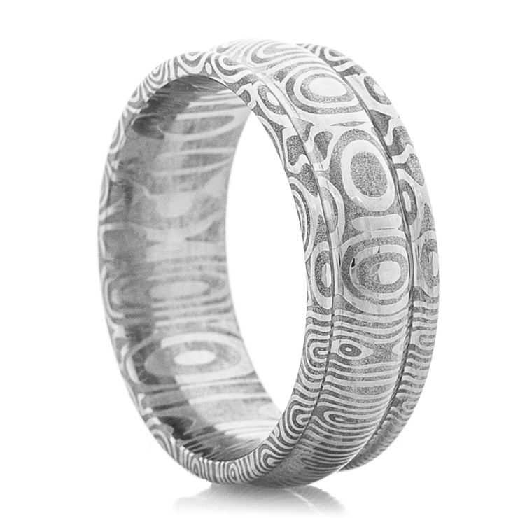 Men's Domed and Grooved Edge Damascus Ring