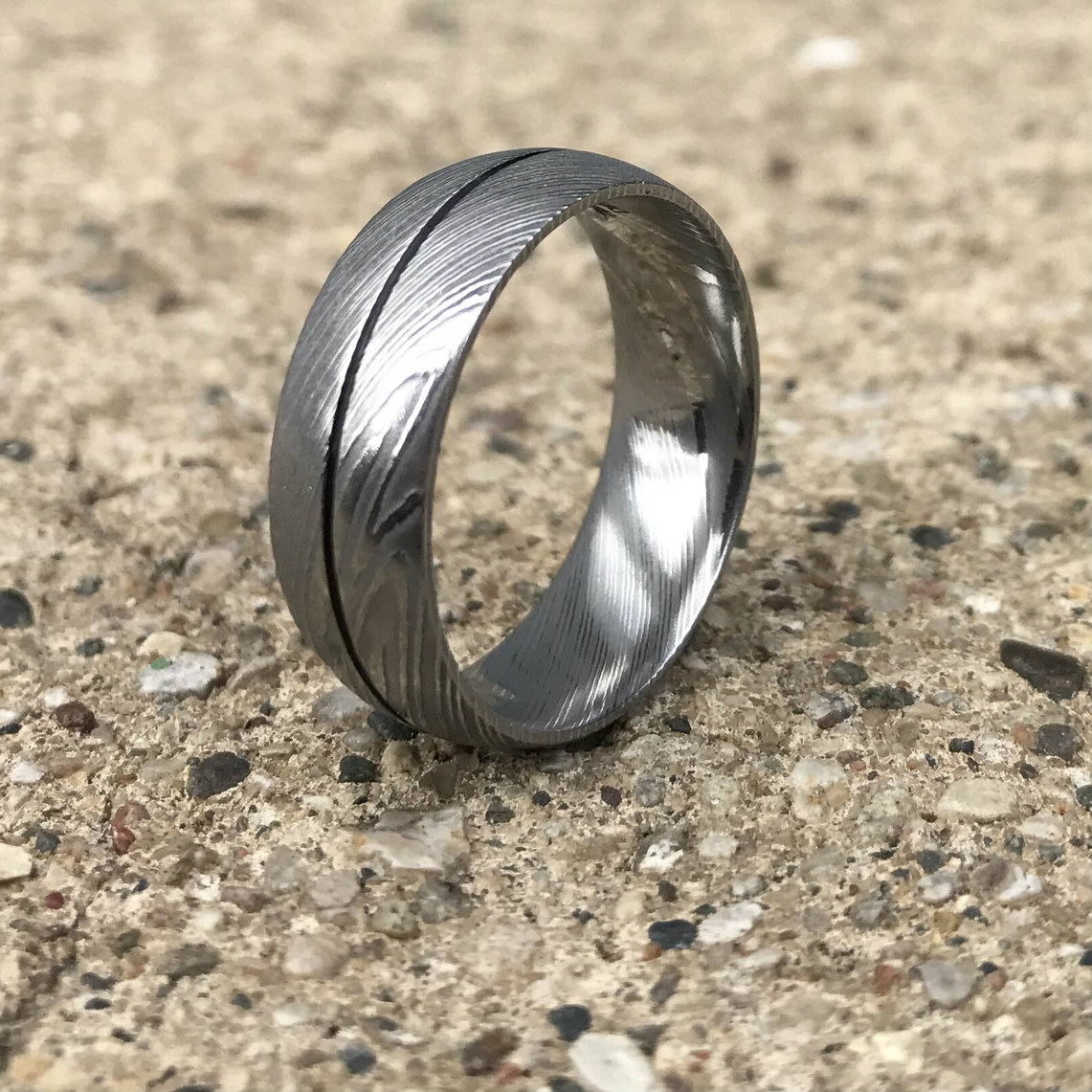 Men's Damascus Steel Ring with Center Groove