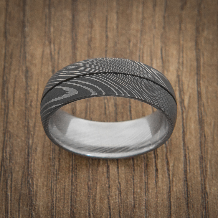 Men's Acid Finish Center Groove Damascus Steel Ring